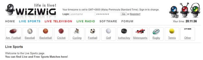 Online football streaming using Wiziwig